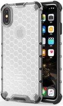 Apple iPhone XS Max Hybride Honinggraat Hoesje Transparant Grijs