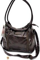 DANIEL RAY Mooie kwaliteit kunstleren fashion hand & schoudertas met koperen details Heel gaaf!