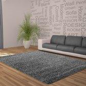 Hoogpolig shaggy vloerkleed 120cm rond grijs - 5 cm poolhoogte