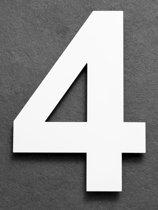 Grote RVS Huisnummers  Hoogte 25cm XXL  Wit  Gratis verzending en 5 jaar garantie  Huisnummer 4