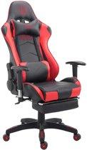 Clp TURBO - Bureaustoel - met voetsteun - kunstleer- zwart/rood