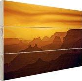 Zonsondergang over Grand Canyon Hout 80x60 cm - Foto print op Hout (Wanddecoratie)