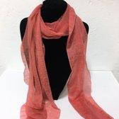 Fashionidea - Mooie Koraal kleurige zijde zachte glimmende sjaal