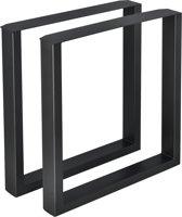 Meubelpoot tafelpoot 2 stuks set staal 70x72cm zwart