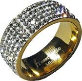 Stalen ring voor dames - zirkonia stenen - goudkleurig -  Tesoro Mio Michel - maat 59 (18,6 mm)