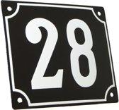 Emaille huisnummer zwart/wit groot nr. 28 18x15cm