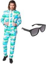 Flamingo print heren kostuum / pak - maat 56 (XXXL) met gratis zonnebril