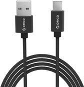 Orico - USB Type-C laad- en datakabel - 2.4A - Gevlochten Nylon - Aluminium - 1 Meter - Zwart