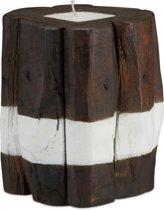 relaxdays kaars houten kaarshouder - bruin-wit - decoratie - rustieke boomstam stompkaars L
