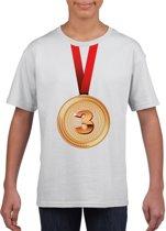 Bronzen medaille kampioen shirt wit jongens en meisjes - Winnaar shirt Nr 3 kinderen M (134-140)