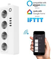 Slimme Stekkerdoos | 4x Stekkers & 4x USB ( FAST CHARGE ) | Werkt met App, Voice Control, Amazon Alexa en Google Home