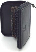Kleingeld portemonnee / kaarthouder leder zwart 29859