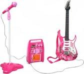 Elektrische Gitaar Set Met Microfoon & Elektronische Gitaarversterker - Kindergitaar Meisjes Roze