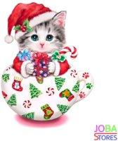 "Diamond Painting ""JobaStores®"" Kitten Kerst - volledig - 30x30cm"