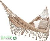 ECOMUNDY ROMANCE XL 360 BEIGE - Luxe 2-persoons hangmat met franje - biologisch katoen - GOTS keurmerk - 160x240x360cm - 250kg