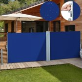 Zonne- windscherm 180 x 600 cm dubbel blauw met wandbeugel