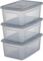 IRIS Clearbox opbergbox - 11L - Kunststof - Transparant/Grijs - 3 stuks