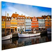 Nyhavn Kopenhagen Glas 30x20 cm - Foto print op Glas (Plexiglas wanddecoratie)
