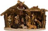 Kerststal - Kerstkribbe - met 11 Figuren - B=39 x H=25 cm