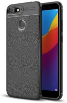 Teleplus Huawei Y7 2018 Leather Textured Silicone Case Black + Nano Screen Protector hoesje