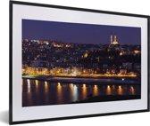 Foto in lijst - Panorama van Istanbul in de avond fotolijst zwart met witte passe-partout 60x40 cm - Poster in lijst (Wanddecoratie woonkamer / slaapkamer)