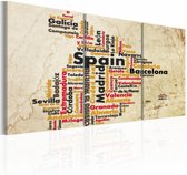 Schilderij - Kaart van Spanje, Multi-gekleurd, 3luik