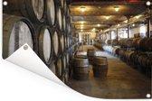 Eiken vaten in een wijnkelder Tuinposter 180x120 cm - Tuindoek / Buitencanvas / Schilderijen voor buiten (tuin decoratie) XXL / Groot formaat!