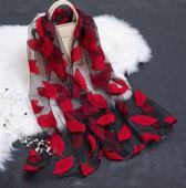 Premium Organza Sjaal - Lente Zomer Chiffon Sjaal - Rood Zwart - Shawl - omslagdoek Strand bladeren Jacquard