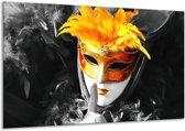 Glasschilderij Masker | Zwart, Grijs, Oranje | 120x70cm 1Luik | Foto print op Glas |  F002098