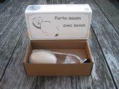 Nostalgische zeephouder met Marseille zeepbol wit (schroefsysteem)
