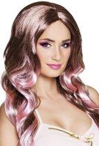 Pruik Fay bruin/pink