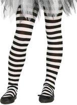Heksen verkleedaccessoires panty maillot zwart/wit voor meisjes