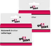 2x Go4inkt compatible met Brother letter tape cassette TZE-741 18mm Zwart-Groen