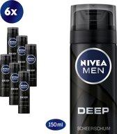 NIVEA MEN Deep Black Shaving Foam - 6x200ml - Scheerschuim