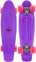 "Nijdam Plastic Skateboard 22.5"" - LED wielen - Paars/Fuchsia"