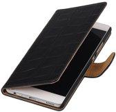 BestCases.nl Zwart Krokodil booktype wallet cover hoesje voor Samsung Galaxy A3 2017 A320F