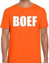 Boef tekst t-shirt oranje heren - heren shirt Boef - oranje kleding L