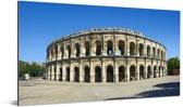 Panorama van de arena in de Franse stad Nîmes Aluminium 40x20 cm - Foto print op Aluminium (metaal wanddecoratie)