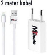 MT Deals - 2 meter iphone oplader -Oplader iphone 2 meter / extra lang - oplader iphone 5 / 6 / 6S / 6plus /iPad Air / Air 2 / iPad 2 / 3 en 4 / iPad mini /  Mini 2 / Mini 3 - adapter + lightning kabel - (only MT Deals) (2)