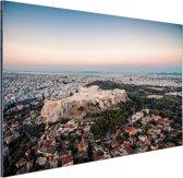 Uitzicht op de Akropolis Aluminium 180x120 cm - Foto print op Aluminium (metaal wanddecoratie) XXL / Groot formaat!