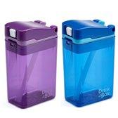 Drink in the Box - Paars en Blauw - Duo Pack - Twee Hervulbare Drinkpakjes - Stevig en Duurzaam - 2 x 24 cl