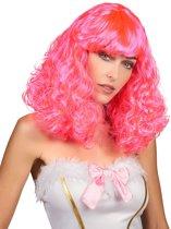 """""""Roze pruik met pony voor vrouwen - Verkleedpruik - One size"""""""
