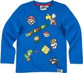 Super-Mario-Bros-T-shirt-met-lange-mouw-blauw-maat-134