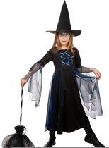 Heksen jurk blauw met hoed voor meisje maat 140