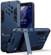 Nokia 9 PureView hoesje, dubbel gelaagde pantser case met standaard, navy blauw - Telefoonhoesje geschikt voor: Nokia 9 PureView