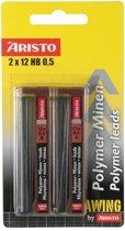 potloodstiftjes Aristo HI-Polymer HB 0,5 mm blister 2 kokers a 12 stuks