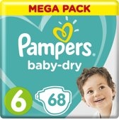 Pampers Baby-Dry - Maat 6 (Extra Large) 13-18 kg  - 68 Stuks - Luiers