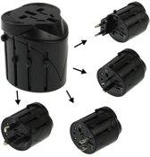 Alles in 1 EU + AU + UK + US Plug Travel universele adapter, afmeting: 60 x 58 x 56 mm (zwart)