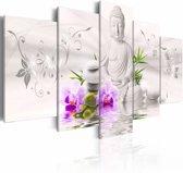 Schilderij - Boeddha - In het Wit, 5luik