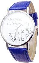 Whatever I'm Late horloge blauw